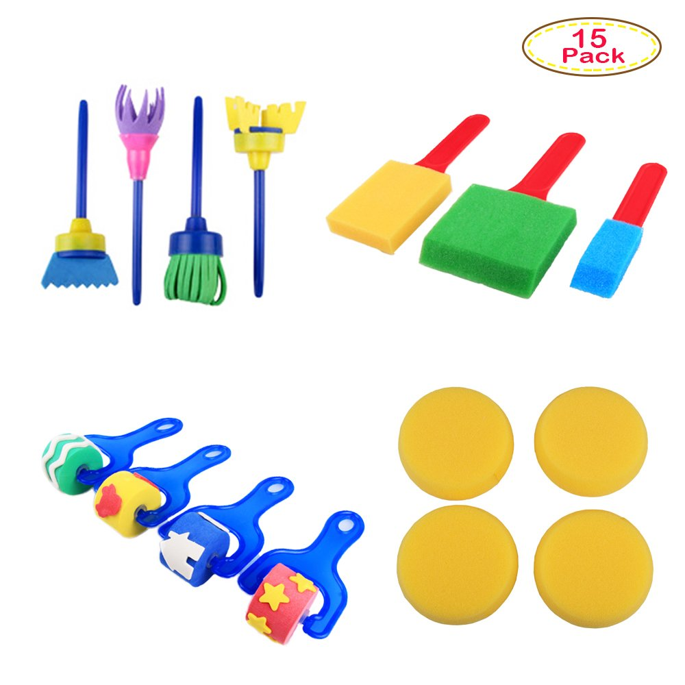 Deardeer 26 Pieces Early Learning Sponge Painting Brush Art Craft Brushes Set for Kids Sponges Painting Tools in a Portable Storage Bag (Color May Vary) Lily' s Tinyshop