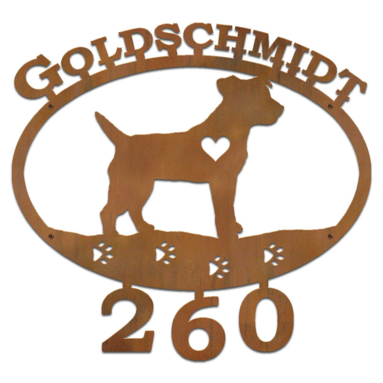 Cold Nose Creations Jack Russell Terrier Dog Breed 22in Oval Steel Custom Address Name and Numbers Sign - Rust Metal Finish - Made in USA