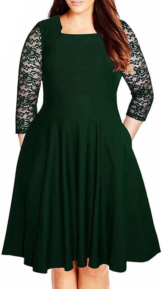 Kolylong® übergröße Kleider damen Frauen Elegant Spitze Kleid