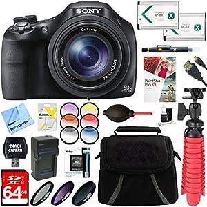 Sony DSC-HX400V/B 50x Optical Zoom Digital Camera (Black) + 64GB Ultimate Accessory Bundle