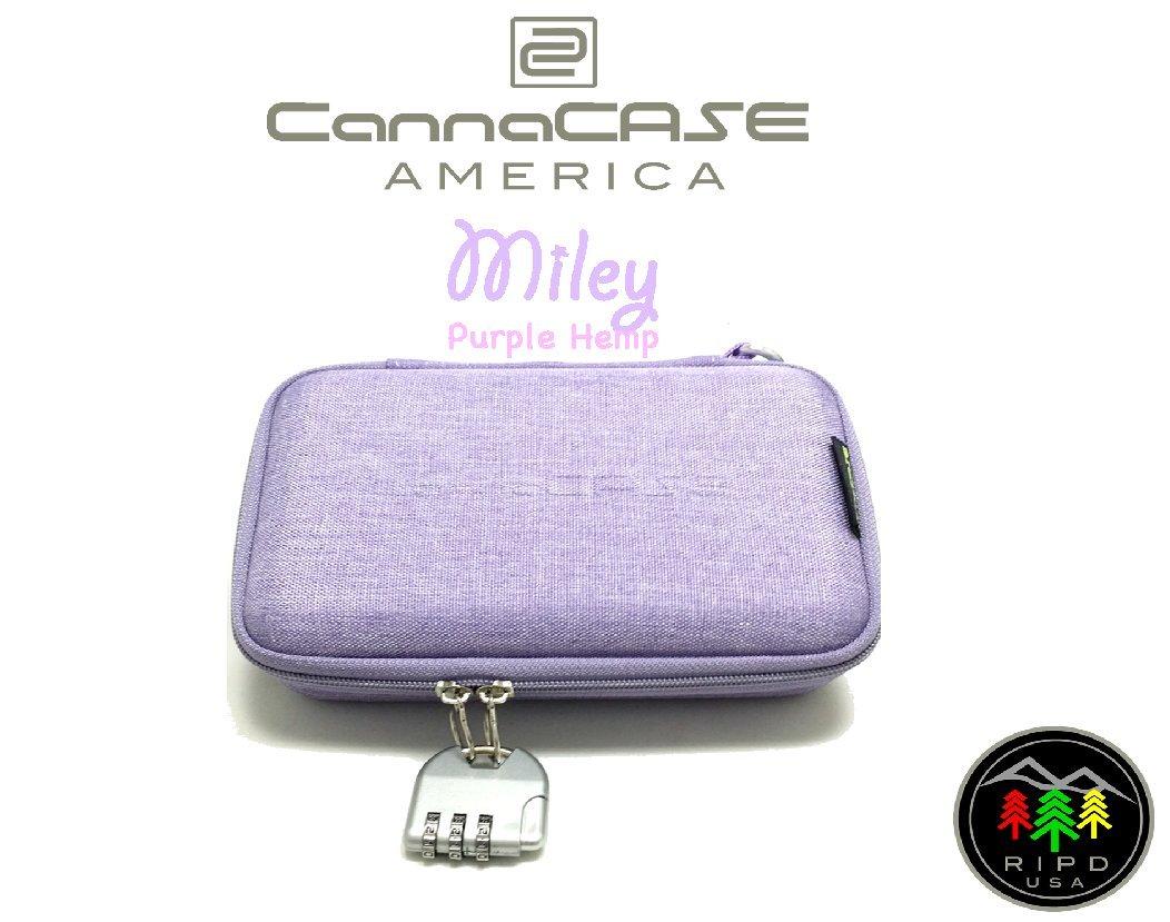 CannaCASE - Miley - Purple HEMP Custom Glass Pipe Case, Customizable Foam, Odor Control, Carabiner Clip And Lock Included