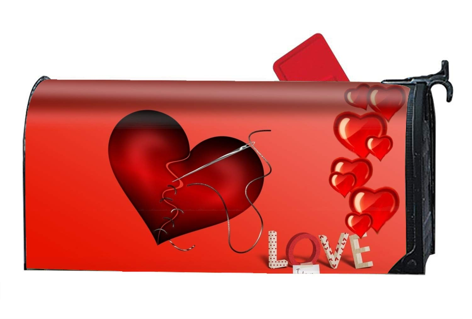 FANMIL Holiday Valentines Day Heart Red Love Custom Magnetic PVC Mailbox Cover - Mailbox Makeover