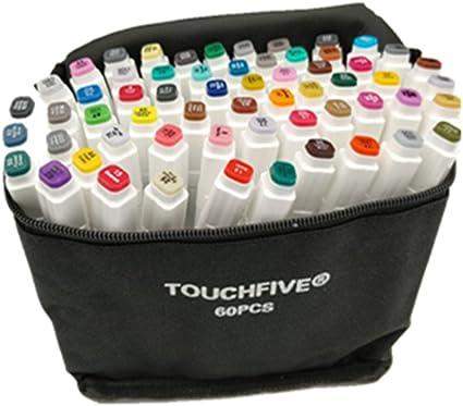 TOUCHFIVE - Marker Brush Lote de 60 rotuladores alcohol: Amazon.es: Oficina y papelería
