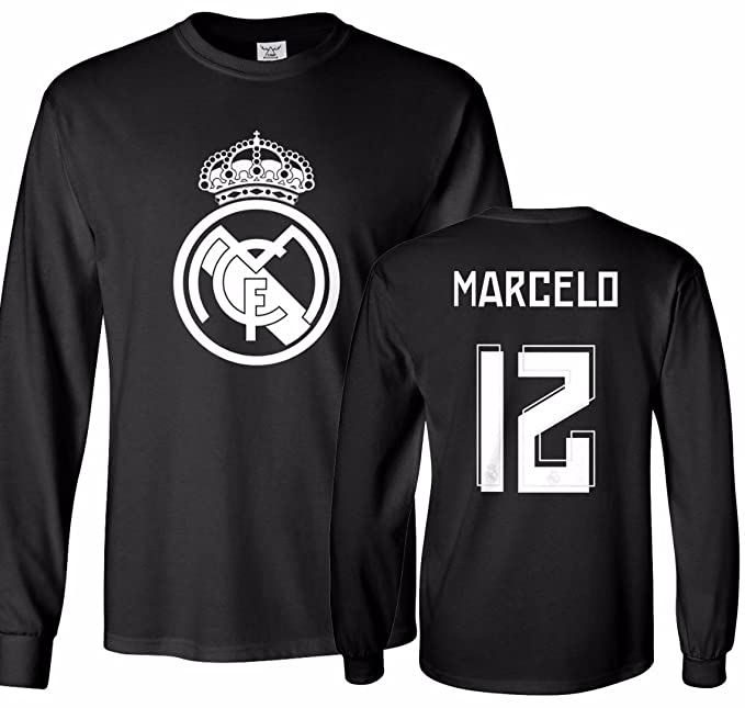 on sale 34220 1e2e1 Tcamp Real Madrid Shirt Marcelo Vieira #12 Jersey Men's Long Sleeve T-Shirt