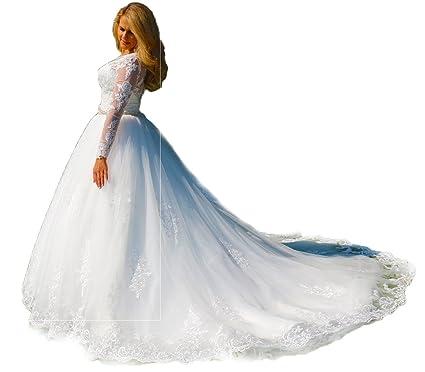 Luxus Brautkleid Hochzeitskleid NEU Braut Spitze mit Ärmel ...