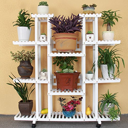 Flower Rack Solid Wood Living Room Balcony Flower Pot Frame Multi-storey Floor Indoor Plant Flower Frame White 25120120cm ( Color : Pulley ) by LITINGMEI Flower rack