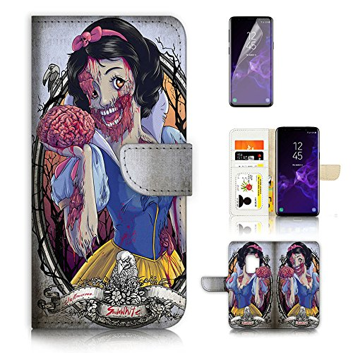 (( For Samsung Galaxy S9 ) Flip Wallet Case Cover & Screen Protector Bundle - A20115 Zombie Snow)