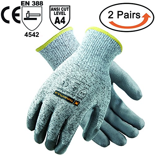 TARANTULA Cut Resistant Gloves, 13 gauge HPPE shell with black PU coated on palm Salt and Pepper Cut Resistance Level 5 Shell,2 Pair Per (Coated Palm Wells)