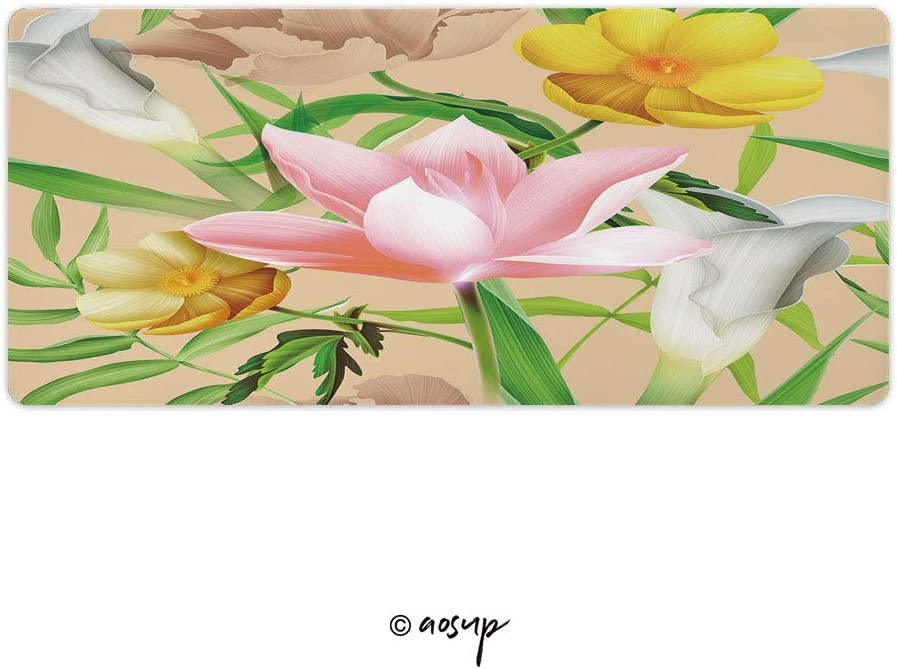 Plant Colorful Pattern Background Gaming Mouse Anti-Slip Rubber Mousepad for Laptop 23.6 x 11.8 NO-07242 Homenon Large Gaming Mouse Pad Locking Edge Mouse Mat Tropical Flower