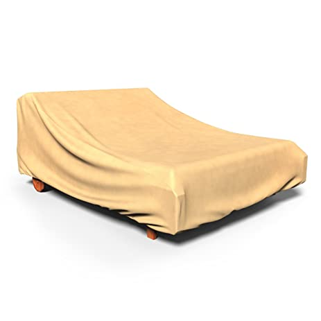 Budge All Seasons Double Patio Chaise Lounge Cover, (Tan)