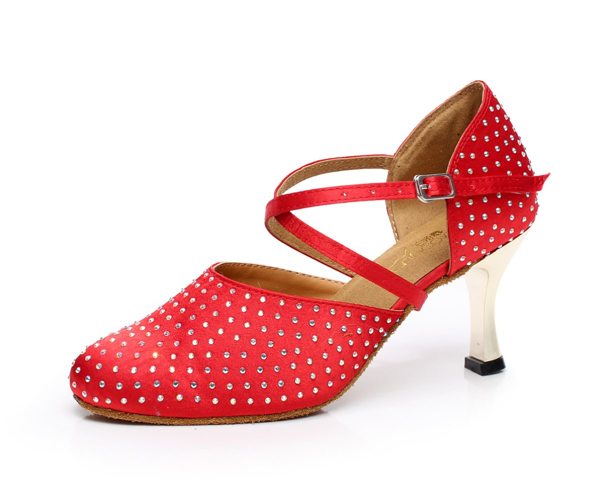 JSHOE Frauen Kristalle Sparking Satin Latin Salsa Tanzschuhe Tango/Tee/Samba/Modern/Jazz Schuhe Sandalen High Heels,RedHeeled7.5cm-UK4/EU35/Our36  UK4/EU35/Our36|Redheeled7.5cm