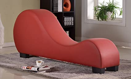 Beau US Pride Furniture Faux Leather Stretch Chaise Relaxation And Yoga Chair,  Red