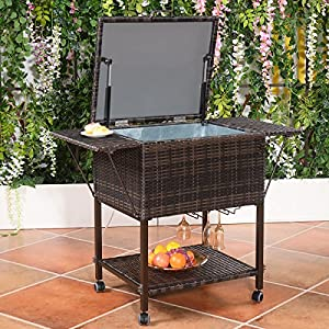 Awesome Wicker Cooler Cart | Outdoor Serving Cart With Wheels For Patio Bar And  Classy Teak Look For Entertaining Guests In The Backyard, Garden, Patio, ...