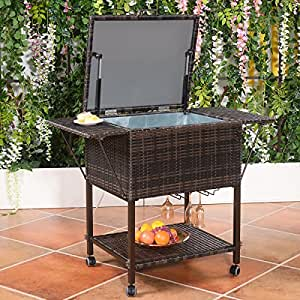 Amazon Com Wicker Cooler Cart Outdoor Serving Cart With