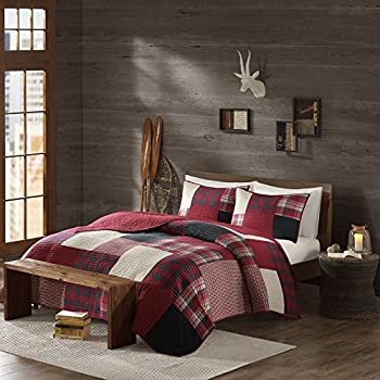 Image of 3 Piece Cal King, Classic Plaid Checks Pattern Quilt Set, Traditional Mid-Century Buffalo Checkered Design, Casual Cabin Textured Themed, Gorgeous Rustic Bedding, Adorable Red, Cream, Color Unisex