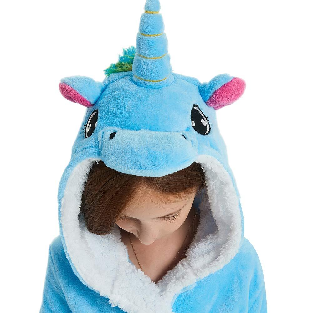ABENCA Kids Hooded Animal Unicorn Bathrobe Plush Fleece Robe Halloween Cosplay Sleepwear ABENCA.PA010