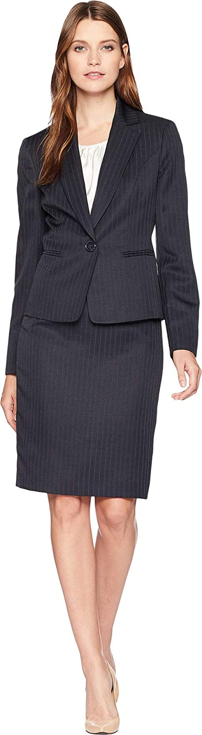 Le Suit Womens Shadow Stripe One-Button Notch Lapel Skirt Suit w/Cami