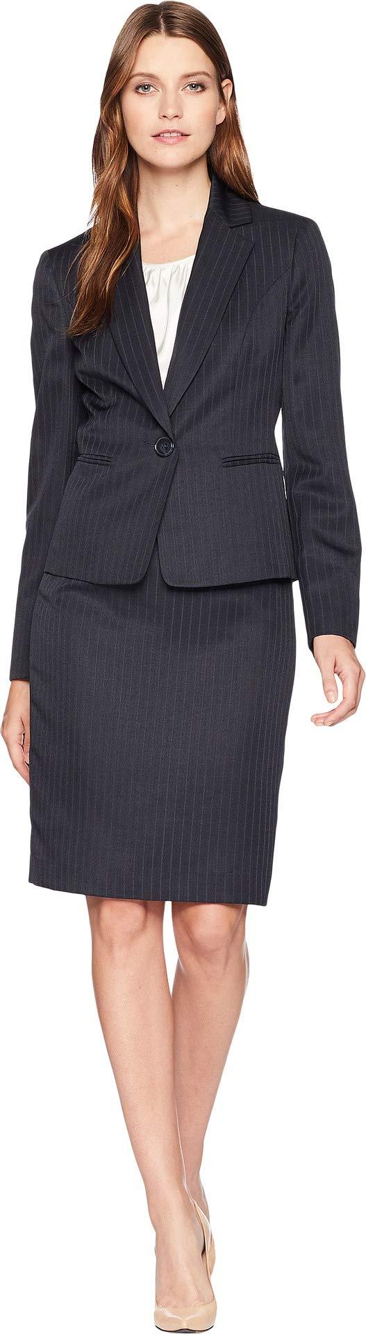 Le Suit Women's Shadow Stripe One-Button Notch Lapel Skirt Suit w/Cami Navy/Ivory 10