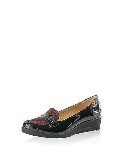 BOSCCOLO 3511, Mocasines para Mujer, Negro/Granate, 36 EU: Amazon.es: Zapatos y complementos