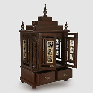ExclusiveLane Teak Wood Temple In Walnut Brown   Home Temple, Pooja Mandir,  Wooden Temple Part 95