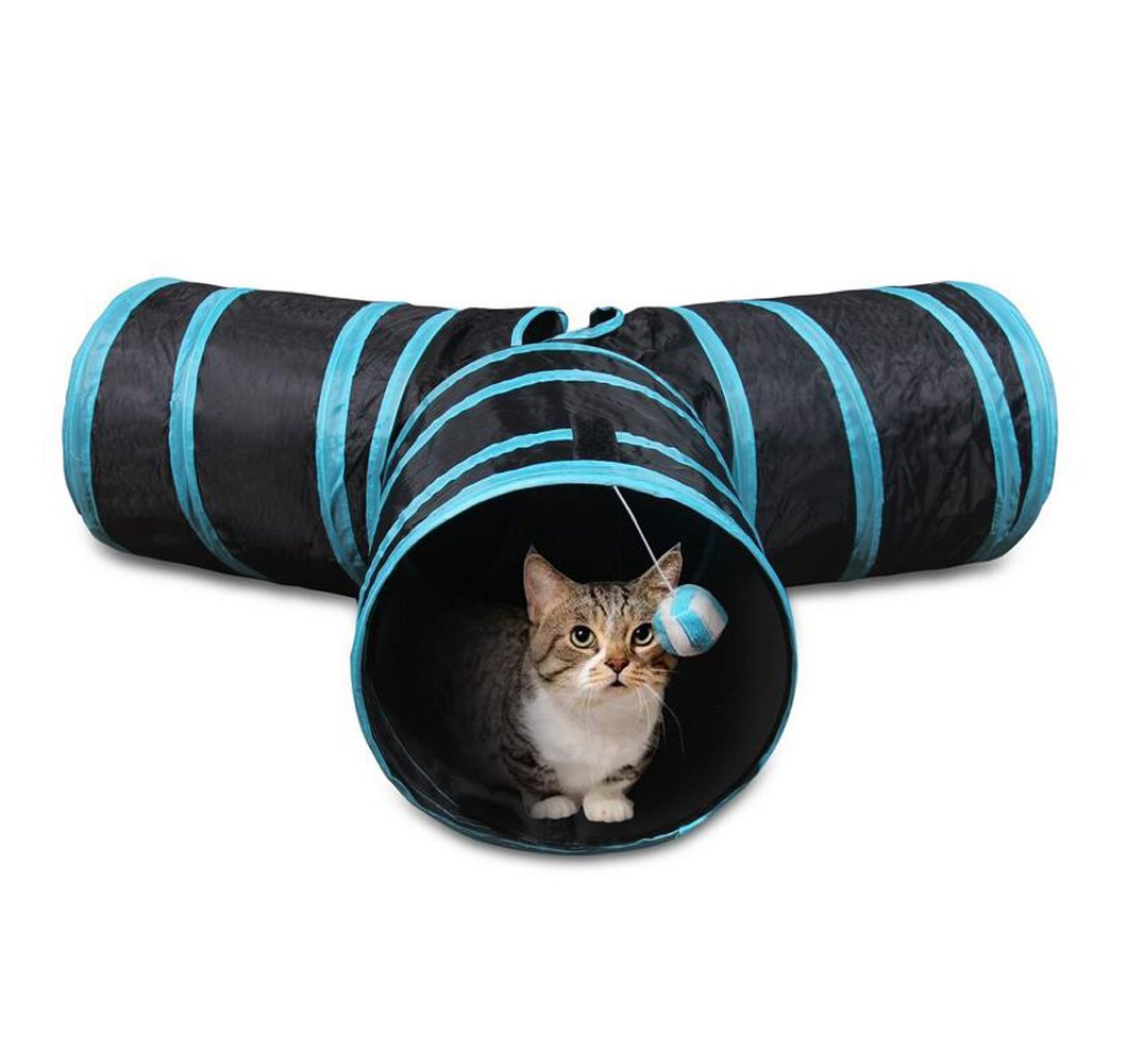 Ouzen 3 Way Collapsible Cat Tunnel Toys With Ball for Cat Puppy Kitten Rabbit (Blue)