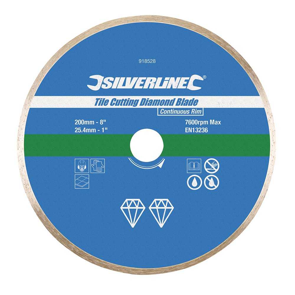 Silverline 918528 Disque diamant à tronçonner le carrelage 200 x 25, 4 mm