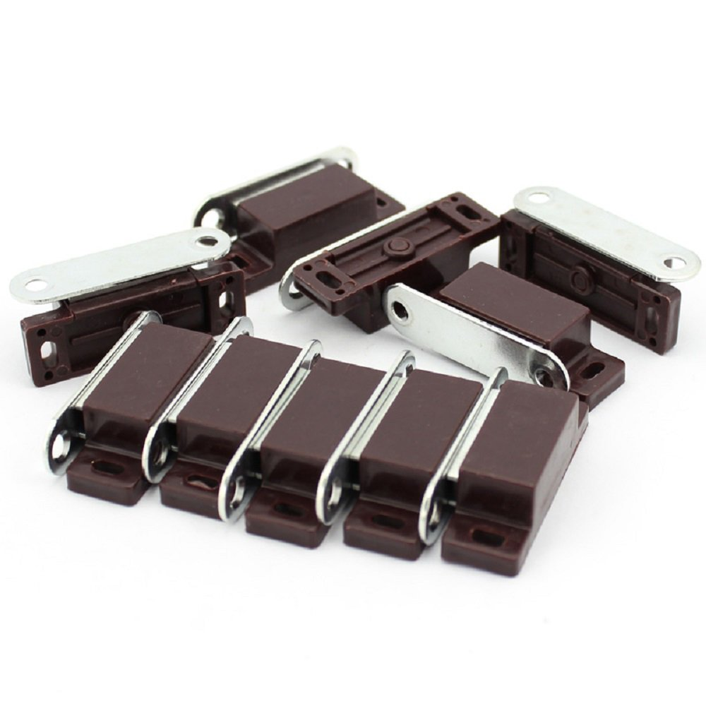 Hettich Magnetic Door Catches with Single Plates and Screws for Kitchen Cabinet Cupboard Home Furniture Bathroom Wardrobe Latch Strong Pull Strength 4kg Germany Brand Brown (10 Pcs)