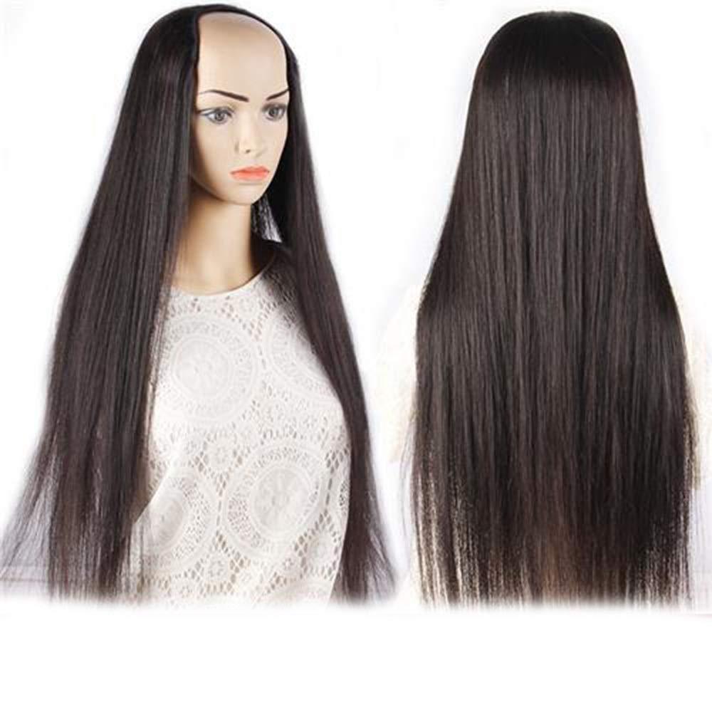 BOBIDYEE Uパートウィッグ3/4ハーフウィッグ調整可能なワンピースロングストレートヘア合成クリップでヘアエクステンション複合ヘアレースかつらロールプレイングウィッグロングとショート女性自然 (色 : Natural black, サイズ : 50cm/100g) B07S7T2QVS Natural black 50cm/100g