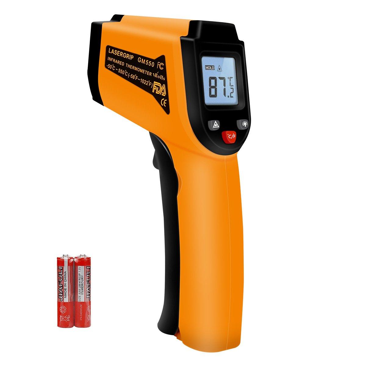 Senza contatto Emissivit/à Regolabile Ideale per la Cottura//Aria//Frigorifero//Congelatore Carne//Auto// Metro Termometro -58 ℉ ~ 932 ℉ Termometro a infrarossi IR5D Laser Termometro Gun-50 ℃ ~ 500 ℃