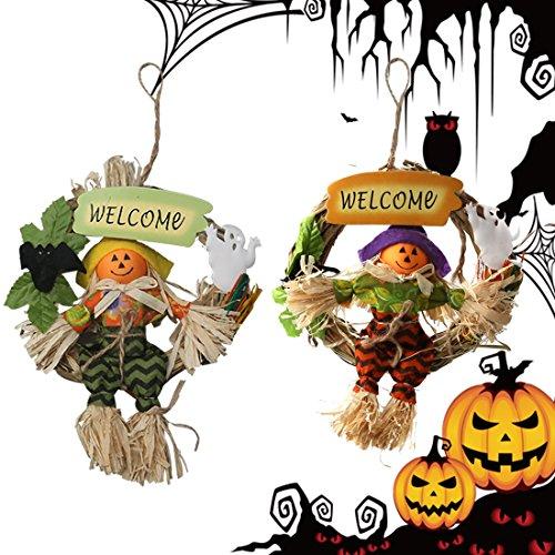 [A-SZCXTOP Halloween Knob Scarecrow Specter Spooky Smiling Pumpkin Door Knocker Hanger Ghost Pendant Random Delivery] (Scarecrow Dress Up Ideas)