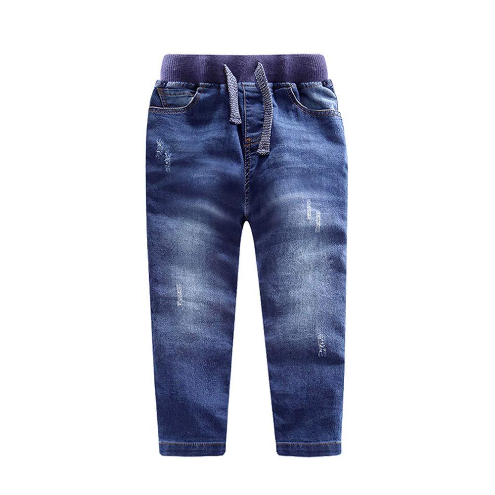 LAPLBEKE Kids Ragazzi Jeans Pantaloni 4 Tasche Dritti Vita Elastica Pantaloni Casual Primavera e Autunno Denim Pants