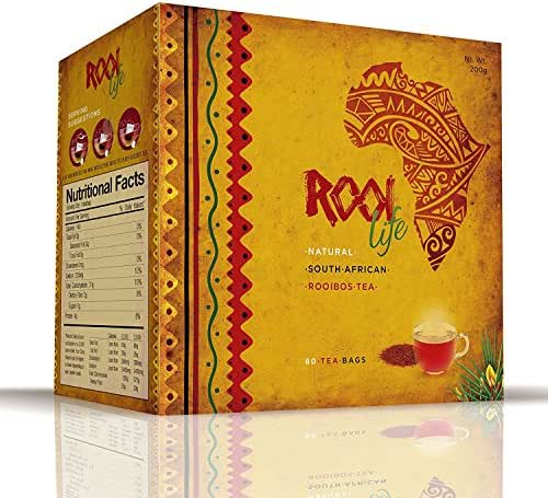 RooiLife South Africa's #1 Organic Rooibos 100% Caffeine Free, Calorie Free Experience the Amazing Health Benefits of Red Bush, Anti-Oxidant Rich, Non-Gmo Herbal Tea Bags