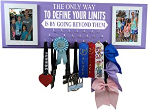 Wall Mounted Medal Holder and Hanger for Marathons, Track, Cross Country, 5K & 10K Runners - The only Way to Define Your Limits is by Going Beyond Them.