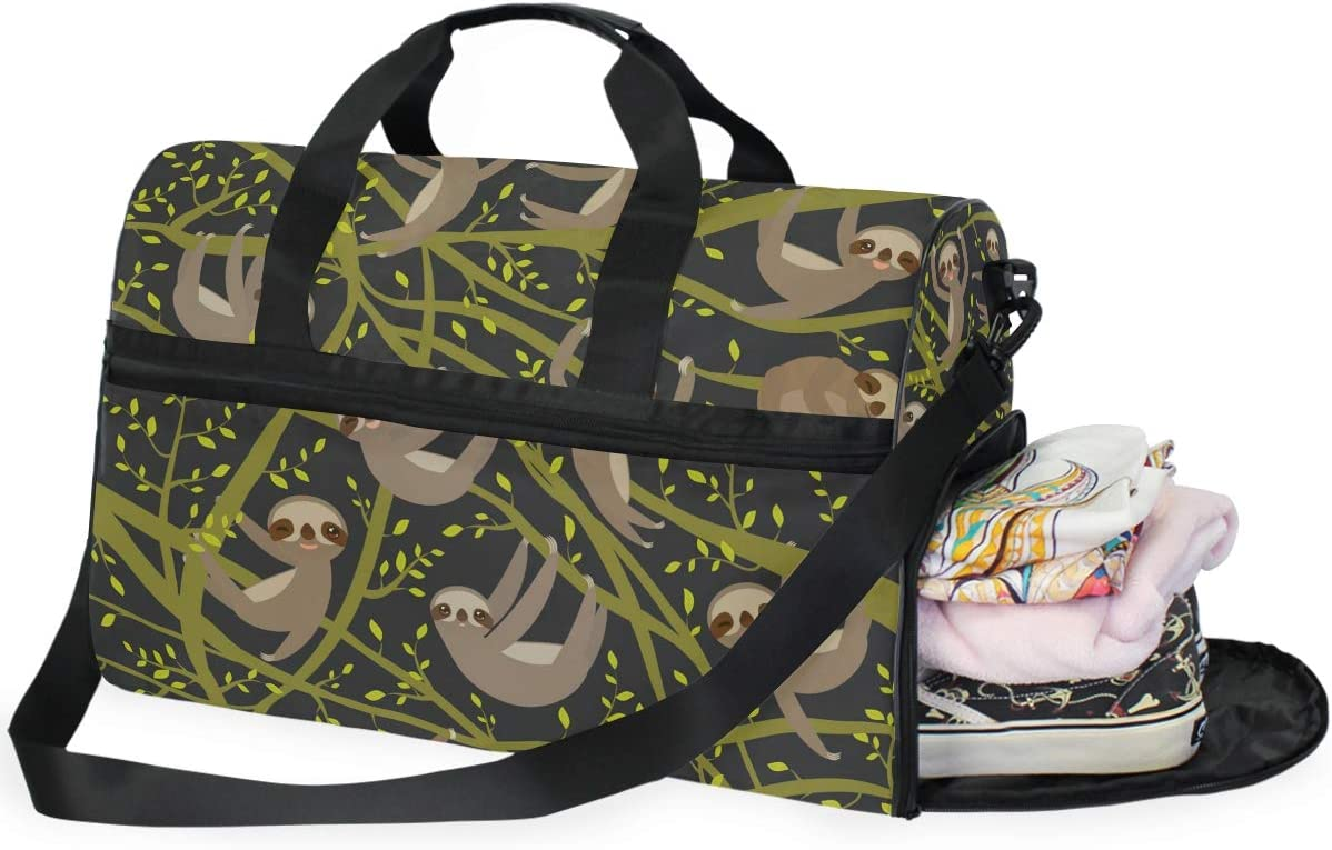 Sloth Travel Duffel Bag Luggage Sports Gym Bag With Shoes Compartment Large Capacity Lightweight Duffle Bag For Men Women