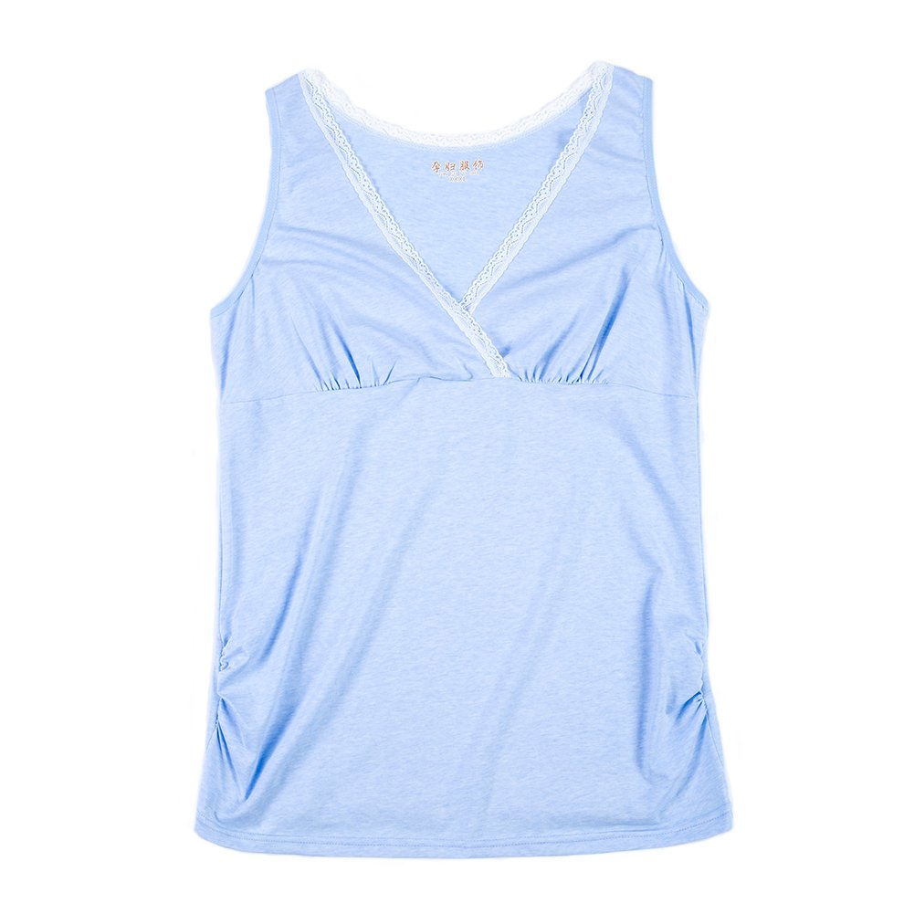 JUNZENIA Nursing Camis Women Maternity Tank Top Short Sleeve Breastfeeding Cotton T-Shirt
