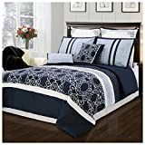 Superior Clarissa Embroidered and Pin-Tucked 8 Piece Comforter Set, Queen, Blue