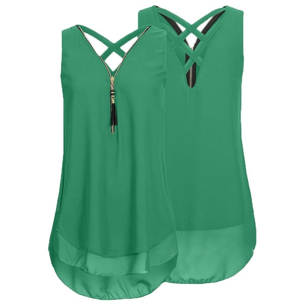 Damen Tops, BBring Frauen Chiffon Bluse Sommer Ärmellos V Ausschnitt Reißverschluss Vorne zurück Aushöhlen Shirt Tank Tops Große Größen