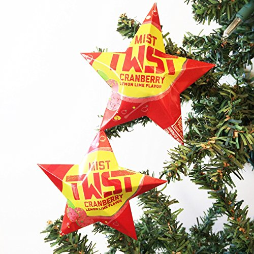 Mist Twist Cranberry Lemon Lime Flavor Soda Can Stars, Recycled Aluminum Beer Can Stars, Upcycled Can, Christmas - Ornaments Aluminum Can