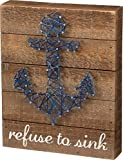 Cheap Primitives by Kathy String Art Box Sign, 8 x 10, Brown, White, Blue