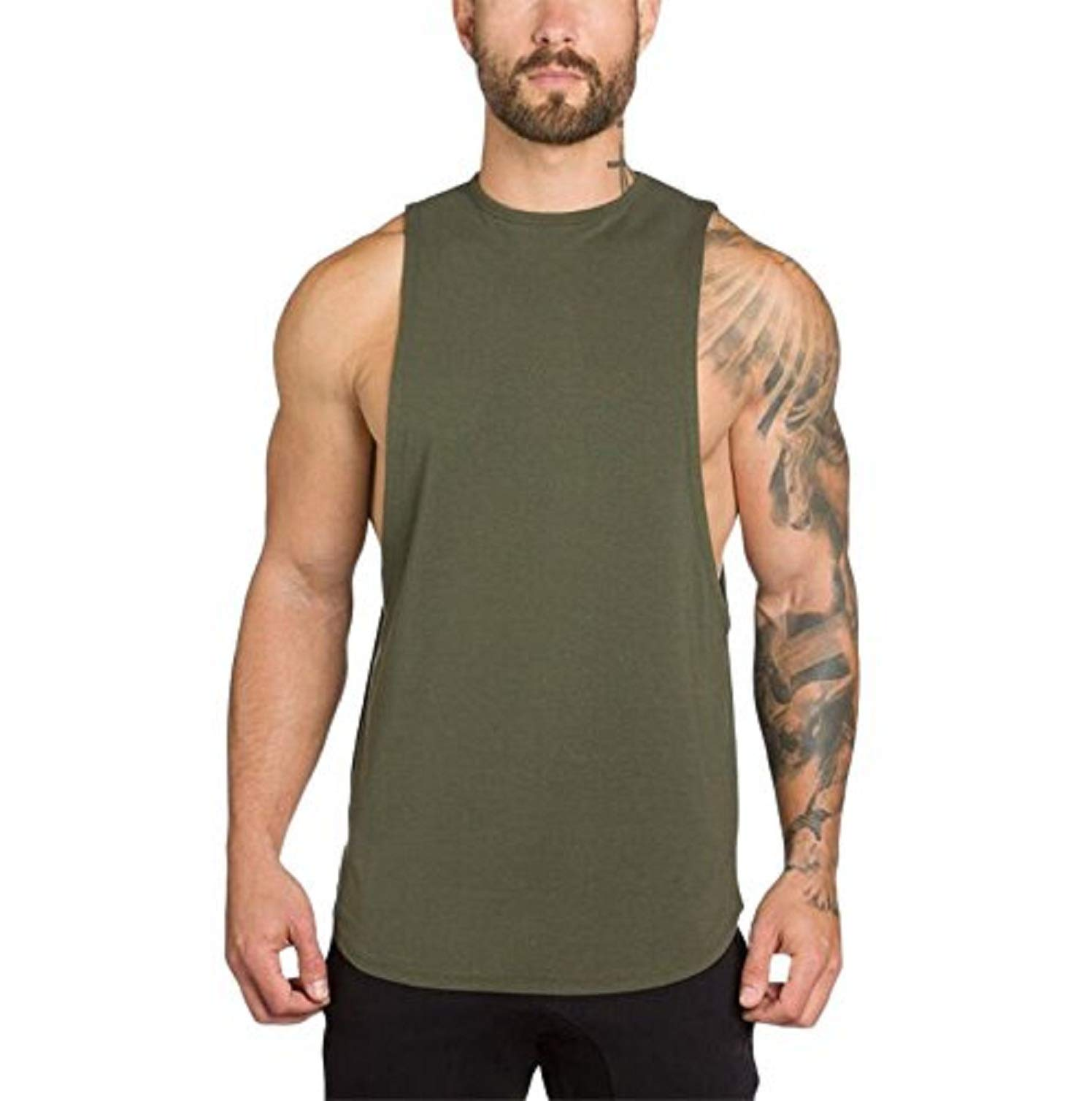 Men Tank Tops Workout,Men's Gyms Bodybuilding Fitness Muscle Sleeveless Singlet T-Shirt Top Vest Tank,Army Green,L