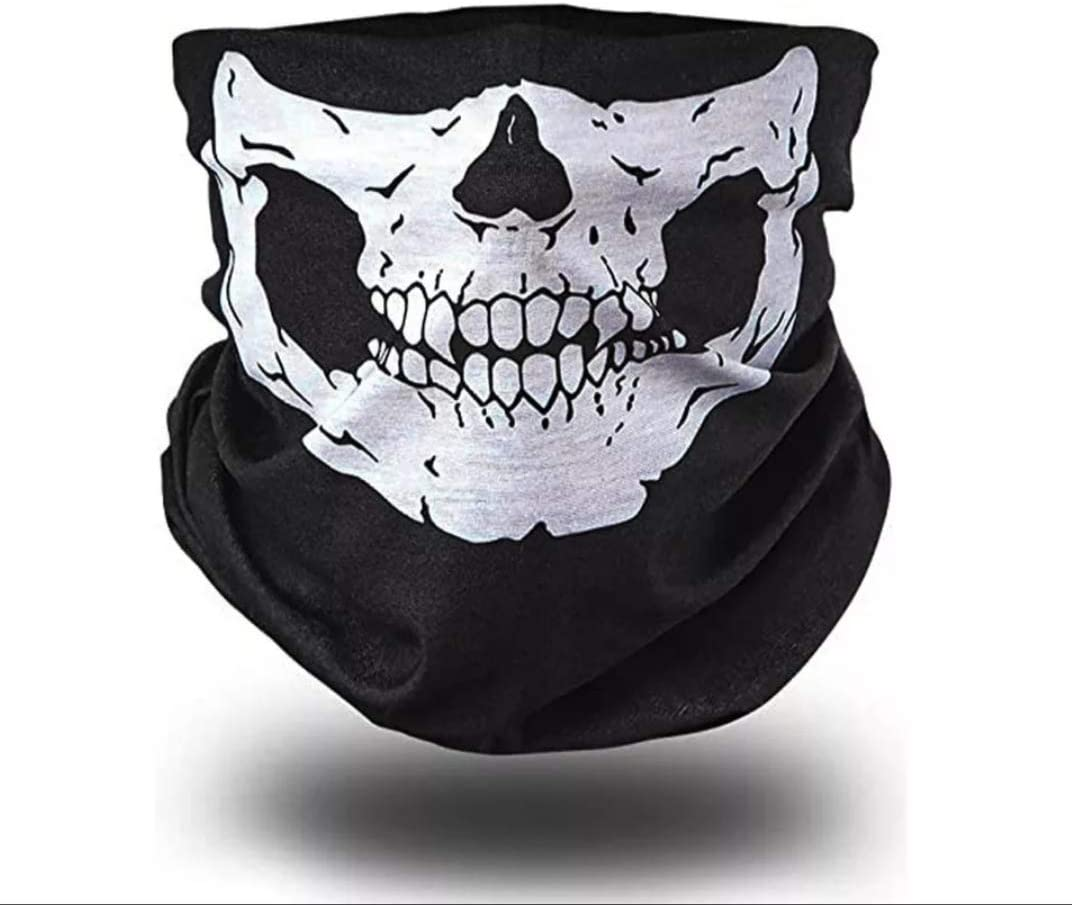 Woo Lando 2 Stück 1 Paar Sport Masken Skelett Gesichtsmaske Kopftuch Stirnband Fahrrad Motorrad Ski Kopfhaube Balaclava Schlitz Schwarz Skull Totenkopf Maske Totenkopf Skull Face Weiß Auto
