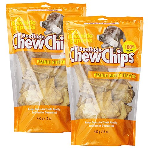 The Rawhide Express Beefhide Chew Chips Peanut Butter Flavored (Great Reward or Treat) 2 LB
