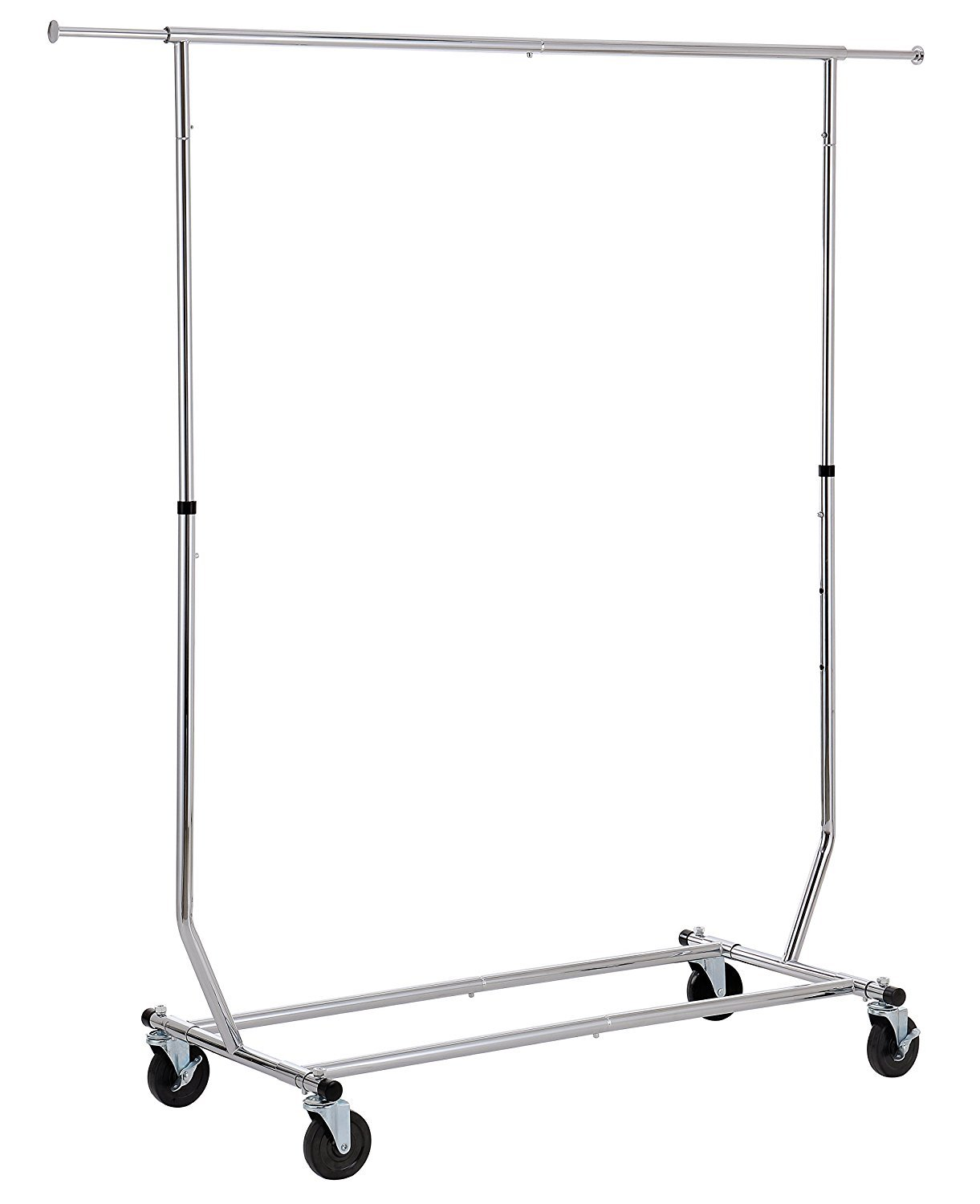 Finnhomy Commercial Grade Adjustable Single Rail Rolling Garment Rack, Heavy Duty Extensible Clothing Hanging Rack with Lockable 4-inch Industrial wheels, Chrome F20HKSHC7007