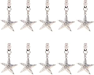 PH PandaHall 10pcs Tibetan Alloy Starfish Tablecloth Weights Clips Table Cover Kit with Metal Clip Perfect for Heavy Outdoor Garden Party Picnic Tablecloths