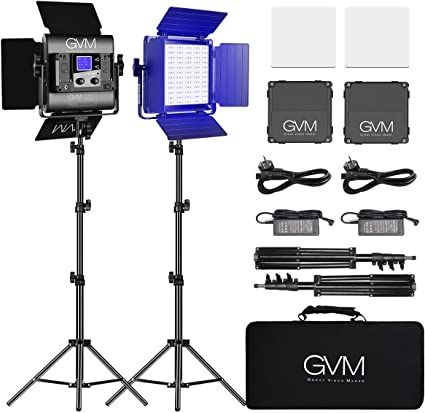Todo para el streamer: GVM - Lámpara LED RGB para video, iluminación de estudio de YouTube Studio (2 unidades)