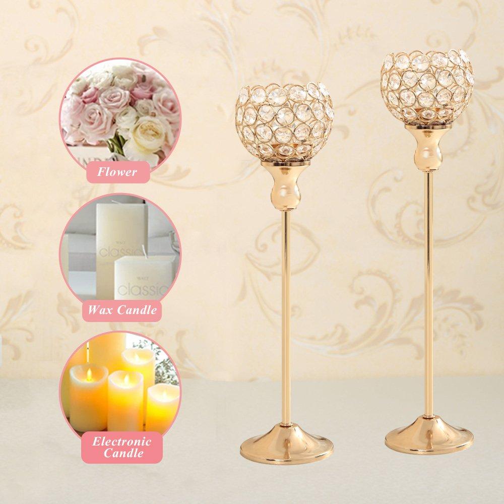 Amazon.com: VINCIGANT Gold Crystal Tea Light Stand Candle Cup Holder ...
