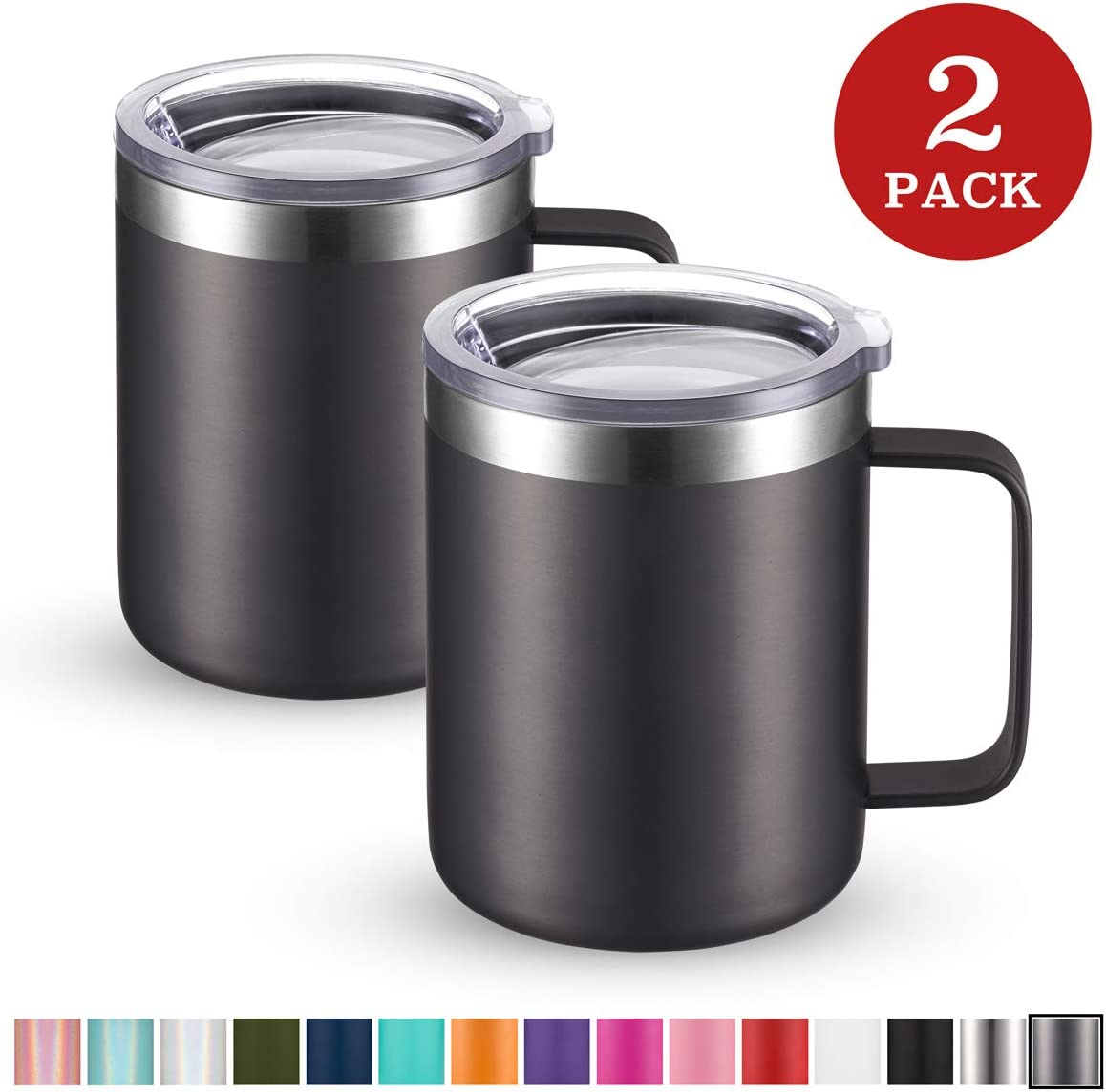 Civago Stainless Steel Coffee Mug Cup with Handle, 12 oz Double Wall Vacuum Insulated Tumbler with Lid Travel Friendly (Gray, 2 Pack)