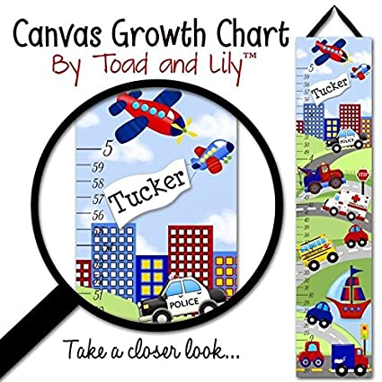 Amazon Canvas Growth Chart Transportation Rescue Vehicles Cars