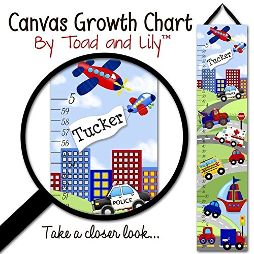 Canvas GROWTH CHART Transportation Rescue Vehicles Cars Trucks Boys Bedroom Kids Baby Nursery Wall Art Personalized Growth Chart GC0085 by Toad and Lily