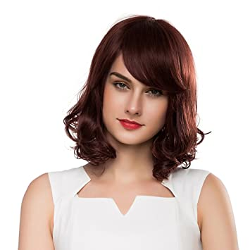 Amazon Com Haircube Medium Length Wave Wigs With Side Swept Bangs